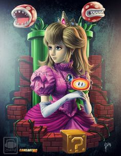 The Emphasis of placement with the images of Princess Peach set in the middle with faded hue.  http://www.game-art-hq.com/51154/princess-peach-from-nintendo-the-princess-of-the-mushroom-kingdom/