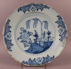 18thC Dutch Delft Pottery Blue & White Plate Charger Floral Decor (Chinoiserie)