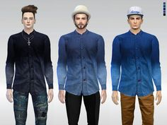 The Sims Resource: Dip-Dye Mack Denim Shirt by McLayneSims • Sims 4 Downloads