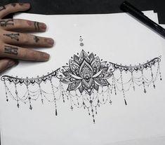 Under the breast tattoo - Brustbein tattoo - Tattoo Designs For Women Diy Tattoo, Lock Tattoo, Hand Tattoo, Tattoo Ideas, Women Sternum Tattoo, Tattoo Fonts, Tattoo Ink, Tattoo Women, Ankle Tattoo