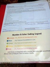 Color coding family tree lines - could be used to keep file folders organized, both paper and digital
