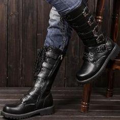 On sale Martin Motorcycle Boots Men Black Retro Combat Boots Belt Buck – Wilk69