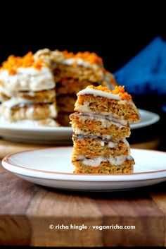 Carrot Cake Pancakes with Yogurt Coconut Cream frosting. Vegan Recipe | Vegan Richa