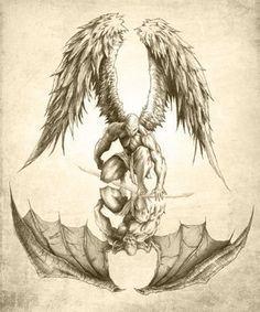 Angels and Demons - Reflection Poster Sexy Tattoos, Body Art Tattoos, Sleeve Tattoos, Taurus Tattoos, Feminine Tattoos, Pretty Tattoos, Arm Tattoos, Kunst Tattoos, Tattoo Drawings