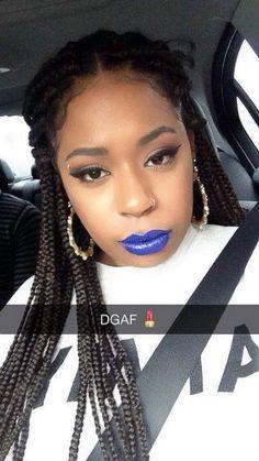 DGAF lipstick box braids MUA winged eyeliner snapchat melt cosmetics Vanity Bar, Lipstick Box, Melt Cosmetics, Winged Eyeliner, Box Braids, Snapchat, Hair Beauty, Box Braid