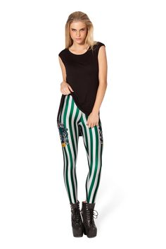 Slytherin Leggings by Black Milk Clothing. Id totally rock these, esp around the house Leggings Mode, Tight Leggings, Leggings Fashion, Leggings Are Not Pants, Legging Outfits, Girls Leggings, Sports Leggings, Fashion Pants, Striped Leggings
