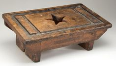 """AMERICAN CARVED PINE FOOT STOOL Circa 1870-1900. 5"""" H, 13 1/4"""" W, 8"""" D. sold $300"""