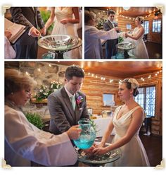 Rachel and Charlie include a unique handwashing ceremony during their wedding - photo by Cuppa Photography  -  http://ncweddingministerblog.blogspot.com/2014/06/rachel-and-charlie-unique-diy-wedding.html