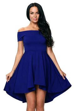 Off the shoulder neckline, a short sleeve, a slim fitting bodice, and a super cute skater skirt with a hi-low hem #Womendresses #SkaterDresses #Pertydresses #la