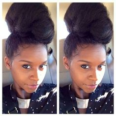 Gorgeous natural hair high bun.