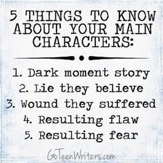 Go Teen Writers: Deeper Character Development: 5 Things to Know About Your Main . - Go Teen Writers: Deeper Character Development: 5 Things to Know About Your Main Characters, Charact -
