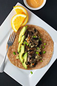 Mushroom and Avocado Breakfast Burrito ~vegan~ Plus, high-protein vegan breakfast ideas!