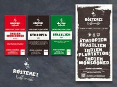 Rösterei Kaffeemühle  Etiketten und Flyer // Juni 2015