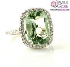 14K Light Green Amethyst Ring Diamond