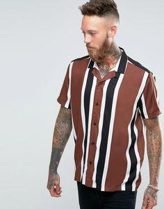 Image 1 ofASOS Viscose Shirt In Brown Stripe With Revere Collar In Regular…