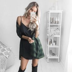 Totally casual cute!  Got layers for this fall? Slip Dress + Plaid + Choker+ Boots ♠️✔️ After Dark Cami Slip Dress   #fall #slipdress #blackslipdress #plaid #choker #trench #coat #falllayers #trenchcoat #lovedistrictsouth #fallstyle #fallfashion #finallyfall #ootd #ootn #gno #falloutfit #outfitinspo #atlanta #streetstyle #october #outfitoftheday #districtsouth #allblack #black #layers #classicstyle #selfie
