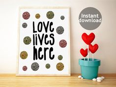 Instant art printable with multicoloured glitters by PrintsOfHeart, £3.00