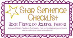 free!!  and perfect ---Two Fulbright Hugs ~ Teacher Time Savers: Star Sentence (book marks or journal inserts)