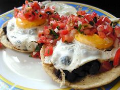 Easy Huevos Rancheros (you can make your own beans and blend them, then fry them - that's really good)