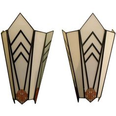 Art Deco Theater Sconces Cubist and Unique | From a unique collection of antique and modern wall lights and sconces at https://www.1stdibs.com/furniture/lighting/sconces-wall-lights/
