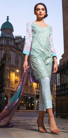 Shirt: Fabric: Embroidered Front, Printed Back with Sleeves Shalwar/Trousers: Fabric: Printed Trouser. Dupatta: Fabric: Printed Chiffon Dupatta.