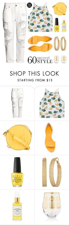 """""""Good Jeans"""" by stavrolga ❤ liked on Polyvore featuring H&M, Thierry Mugler, Michel Vivien, OPI, GUESS, Mullein & Sparrow, Home Essentials, distresseddenim, polyvoreeditorial and 60secondstyle"""