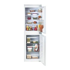 IKEA - ISIGT, Integrated fridge/freezer A+, 5 year guarantee. Read about the terms in the guarantee brochure.4 adjustable shelves in tempered glass with spill guards allow you to customise your storage space.The front part of 1 glass shelf slides in, so you have room for food that needs more vertical space.1 door compartment with 2 dividers helps you organise the space and provides support for bottles, etc.Integrated LED light technology that illuminates every corner. The light source is ...