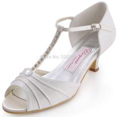 Women Shoes White Ivory Low Heel T-Strap Rhinestones Pumps Satin Bride Bridesmaid Prom Wedding Bridal Shoes Woman Sandals EL-035