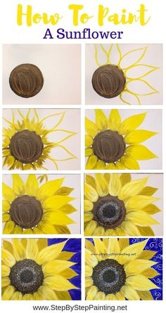 Drawings How To Paint A Sunflower - Step By Step Painting - Tutorial - Learn how to paint a sunflower with acrylics on canvas. Beginners guide to painting a large yellow sunflower on canvas. Instructions and video included. Cute Canvas Paintings, Easy Canvas Painting, Diy Canvas, Diy Painting, Painting & Drawing, Canvas Art, Acrylic Canvas, Easy Flower Painting, Decorative Paintings