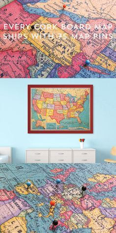 """Vintage inspired US and World maps printed on cork and beautifully framed in your choice of 14 frame styles. Get inspired about traveling, US & world geography or use to plan your next adventure. Ships with 75 map pins. Overall size: 48"""" x 34"""". Available now from Corkboard.com"""