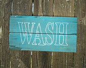 Barn Wood, WASH Bathroom or Laundry Sign on Rustic Reclaimed Pallet Wood, country, farm, primitive