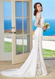 Sheath silk gown; lace fitted long- sleeves; open side slits on gown with open V-back