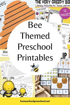Explore this wonderful collection of free preschool bee themed printables that focus on math, science, and literacy. There's even a fun craft template for your little ones. Preschool At Home, Free Preschool, Preschool Themes, Preschool Printables, Free Math, Preschool Classroom, Classroom Themes, Classroom Design, Preschool Worksheets