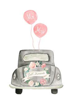 Wedding Congratulations Card, Wedding Greetings, Wedding Wishes, Congratulations Greetings, Just Married Auto, Wedding Drawing, Cadeau Couple, Free Wedding, Car Wedding