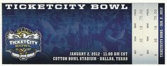 2012 Ticketcity Bowl Game Full Ticket Penn State Houston....if you like this you can find many more college bowl game tickets for sale at.....www.everythingcollectibles.biz