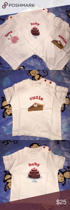 New set of THREE INFANT TSHIRTS. Set of three white infant tee shirts. You will receive one of each. Sweetie pie, baby cakes and love bug. Could be worn by either a boy or girl. Very soft and well made. Snaps across the shoulders. Short sleeves. toos company  Shirts & Tops Tees - Short Sleeve