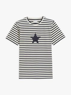 t-shirt coulos étoile bleu et blanc à rayures | agnès b. T Shirt, Mens Tops, Collection, Fashion, Stripes, Supreme T Shirt, Moda, Tee, Fashion Styles