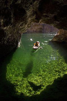 Kayaking in Emerald Cave, Colorado River in Black Canyon, Arizon