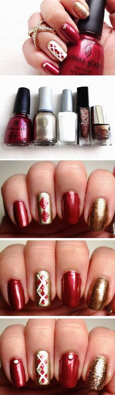 Argyle Sweaters | Easy Fall Nail Designs for Short Nails