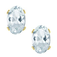 Gemstone 164321: 0.80 Ct Aquamarine 10K Yellow Gold Stud Earrings 6X4mm BUY IT NOW ONLY: $34.99