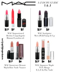 Guide to MAC Lipstick Dupes on MoneyCanBuyLipstick.com | Lipstick dupes. The best dupes. Budget beauty.