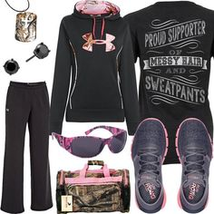 Click Each Item for More Info Messy Hair & Sweatpants Shirt Under Armour Hoodie UA Running Shoes Black Sweatpants Mossy Oak Duffel Bag Pink Camo Sunglasses