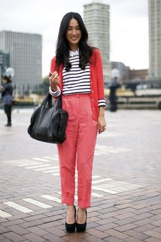 Timeless hight-waisted bright trousers are effortless perfection.