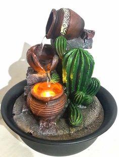 Fuente De Agua Captus Cascada Jarrones Zen Con Luz C/ Bomba