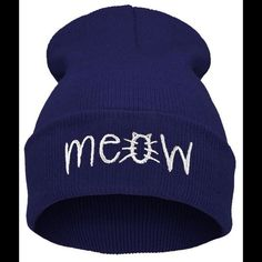 2dad4c6c87ba1 NAVY BLUE MEOW BEANIE HAT super cute Beanie hat says