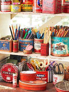 Craft Organization Ideas - Craft Room Makeover Inspiration - Collection of vintage tins to hold art and desk supplies: - Craft Room Storage, Craft Organization, Craft Rooms, Organizing, Storage Ideas, Craft Room Desk, Craft Storage Solutions, Art Storage, Art Desk