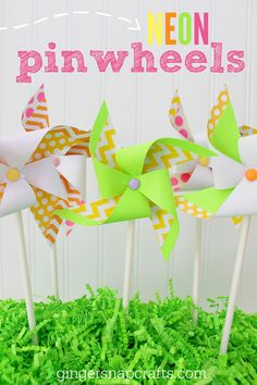 Neon Paper Pinwheels {tutorial} - Ginger Snap Crafts