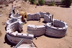 Foundation Structure for CalEarths  Eco-Dome.  Plans & DVD & Bags available via their website.