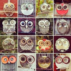 So many ways to make an owl. Using old shower heads, old graters and strainers, and so many other recycled items.