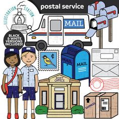 26 (13 Color, 13 Black And White) Illustrations Depicting Various Stages Of  Sending Mail. Files Are High Resolution PNG Format With Transparent  Background.
